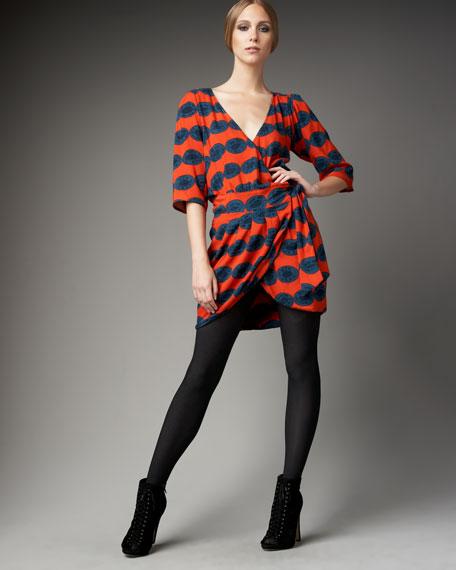 Three-Quarter Sleeve Wrap Dress