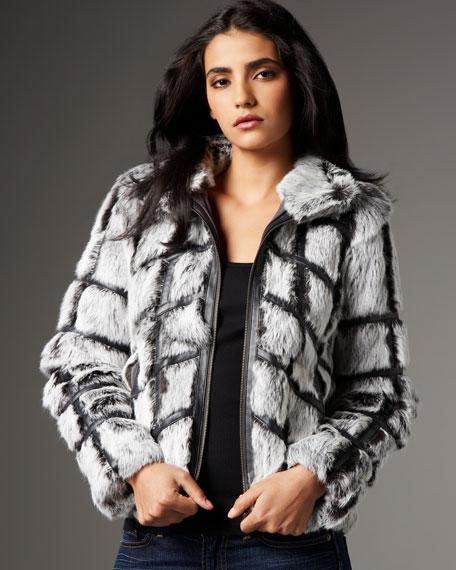 Leather-Fur Crisscross Jacket