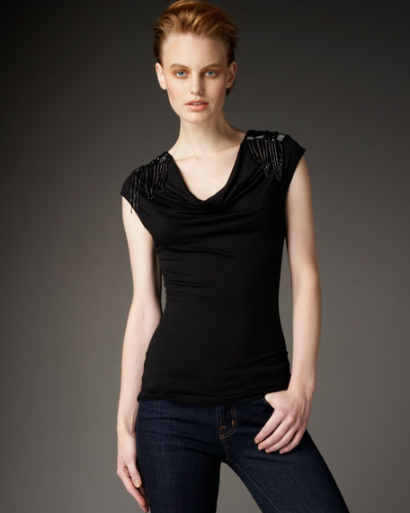 Cowl-Neck Sequined Tee