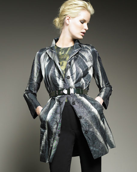 Printed Button-Front Jacket