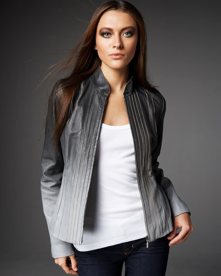 Ombre Leather Jacket, Women's