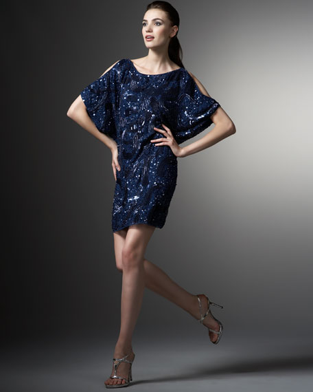 Aidan Mattox Sequin Cold-Shoulder Shift Dress