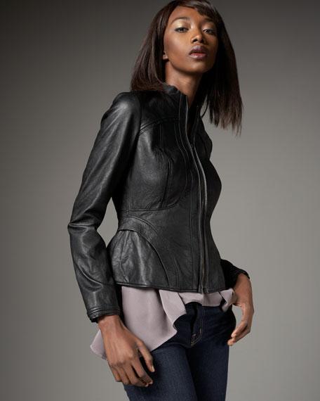 Seamed Leather Jacket