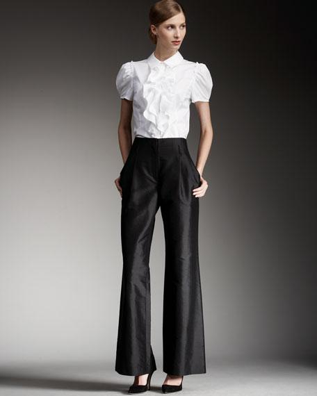 Wide-Leg Dupioni Pants