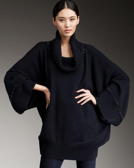 Cashmere Chain Turtleneck Sweater