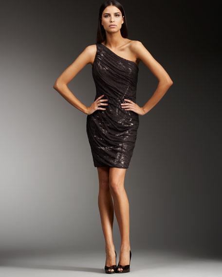 Sequined Chiffon Overlay Dress