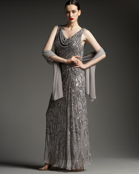 Sequin Drape Gown