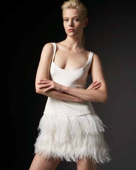 Sleeveless Feather-Bottom Dress