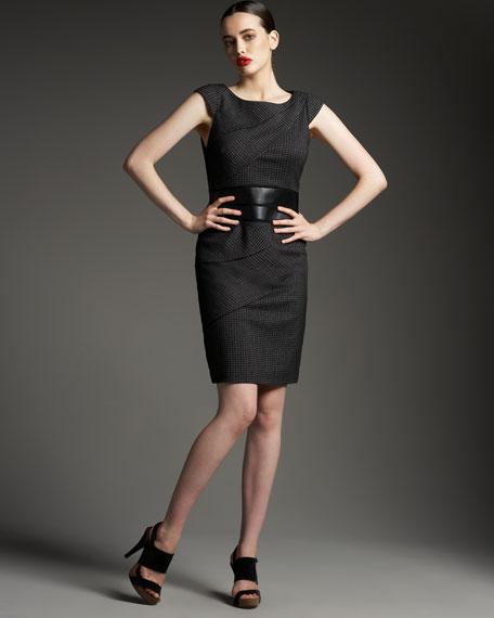 Belted Cap-Sleeve Dress