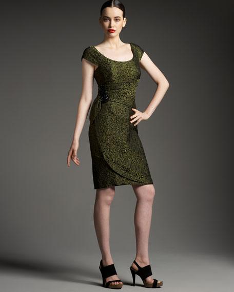 Scoop-Neck Brocade Cocktail Dress