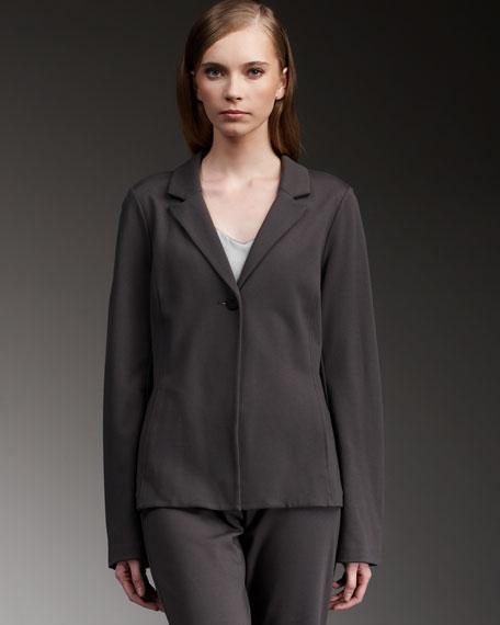 Notch-Collar Knit Jacket