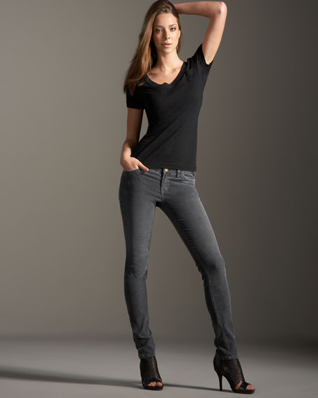 The Skinny Dark Charcoal Corduroy Pants