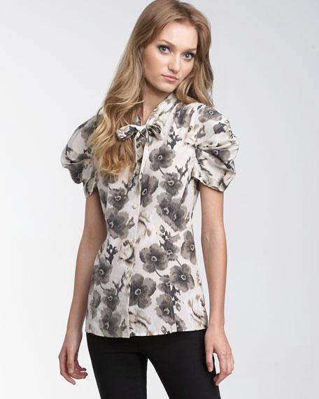 Garden Tie-Front Silk Shirt