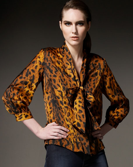 Ocelot-Printed Bow Blouse