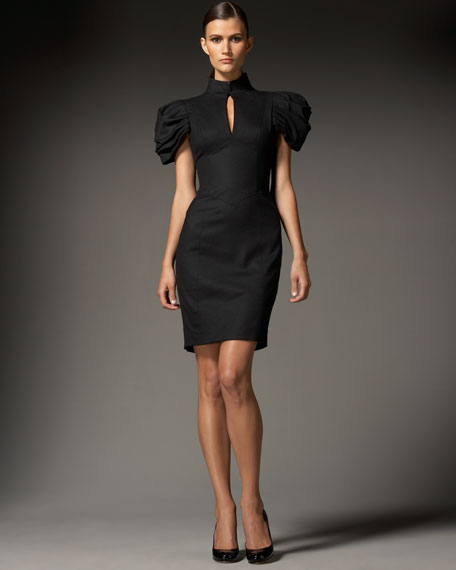 Corseted Stretch-Wool Dress