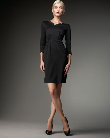 Joan Vass Beaded Knit Dress, Women's