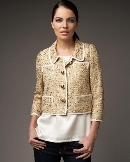 addie sequined cropped jacket