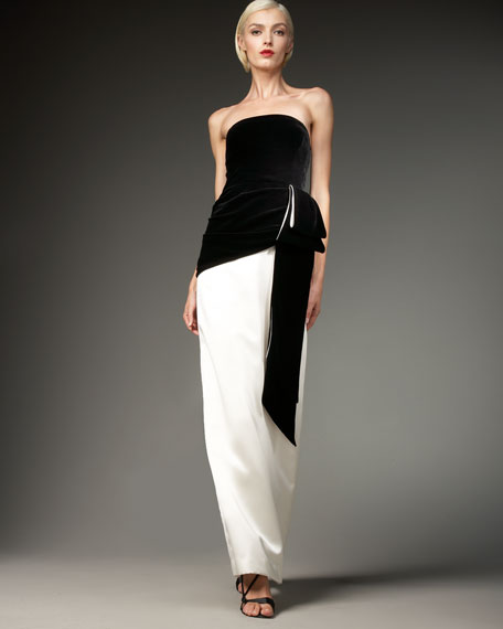 Two-Tone Strapless Foldover Gown
