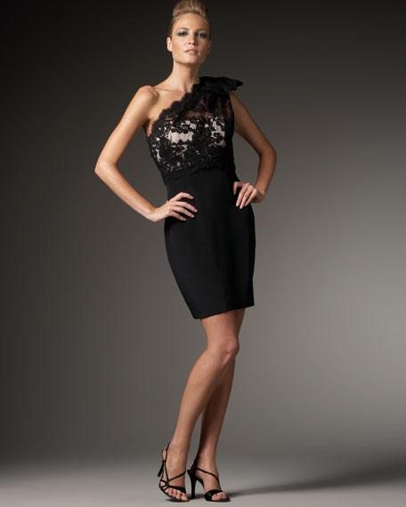 One-Shoulder Lace-Bodice Dress