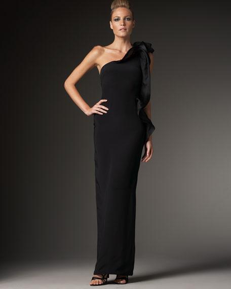 One-Shoulder Side Ruffle Dress