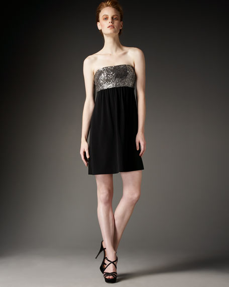 Sequin-Top Strapless Dress