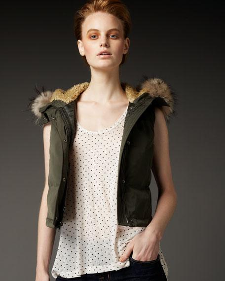 Fur-Hood Puffer Vest