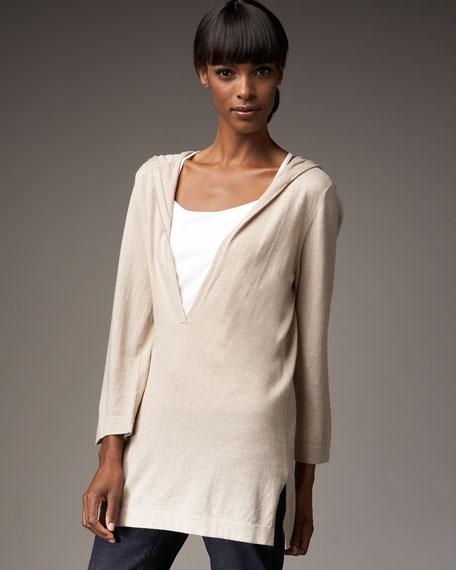 Organic Cotton-Cashmere Hooded Tunic