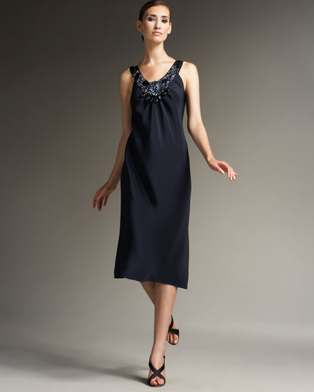 Silk Mirror Dress, Navy