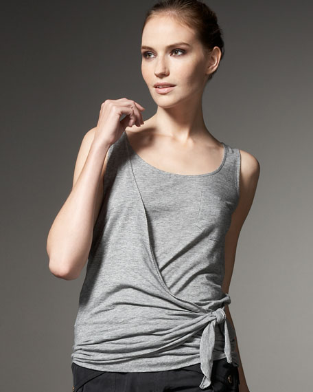 Feather-Jersey Wrap Top