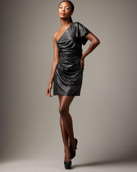 One-Shoulder Faux-Leather Dress