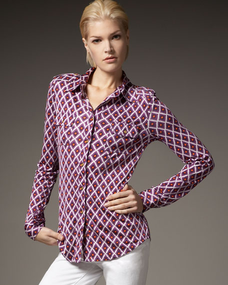 Edie Diamond-Print Blouse