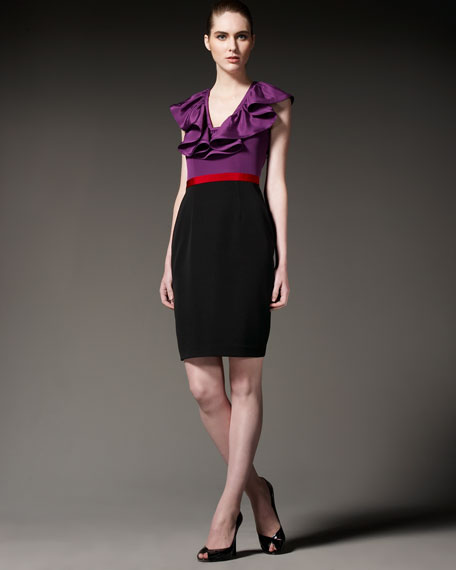 Colorblock Ruffle-Neck Dress