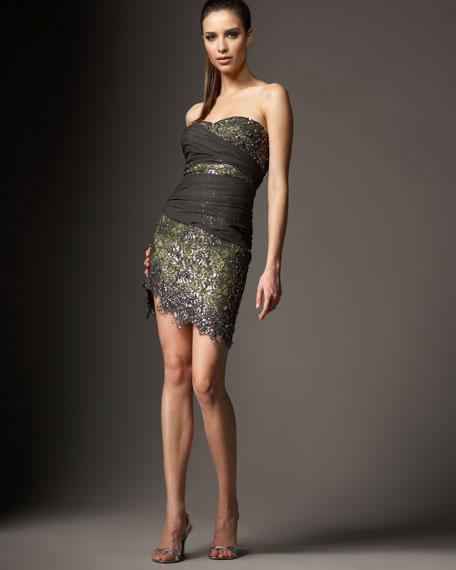 Lace Slant-Hem Mini Dress