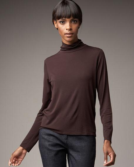 Silk Scrunch Turtleneck, Women's