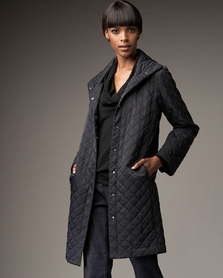 Quilted Snap-Front Coat