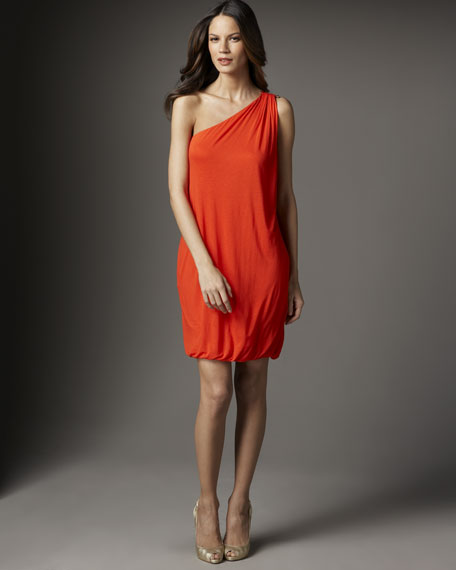 One-Shoulder Bubble Hem Dress, Poppy