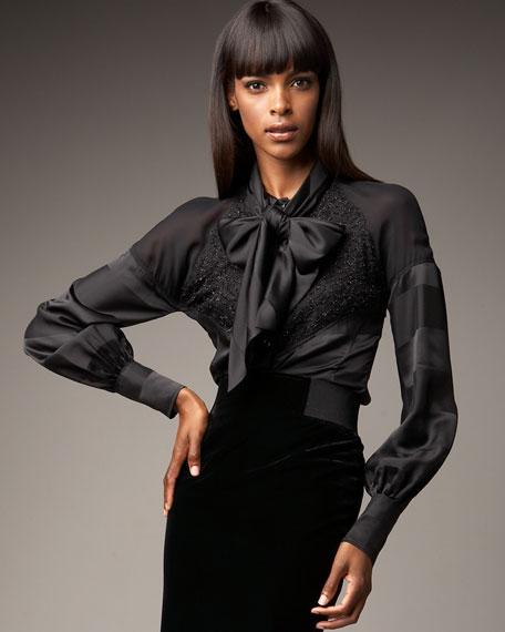 Lace Tie-Front Blouse