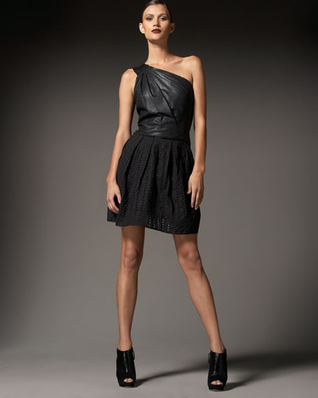 Devon One-Shoulder Leather Dress