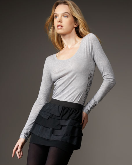 Mixed Ruffle Miniskirt