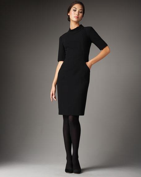 Wool Crepe Mock-Neck Dress