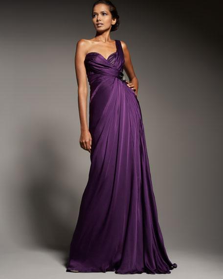 One-Shoulder Chiffon Gown