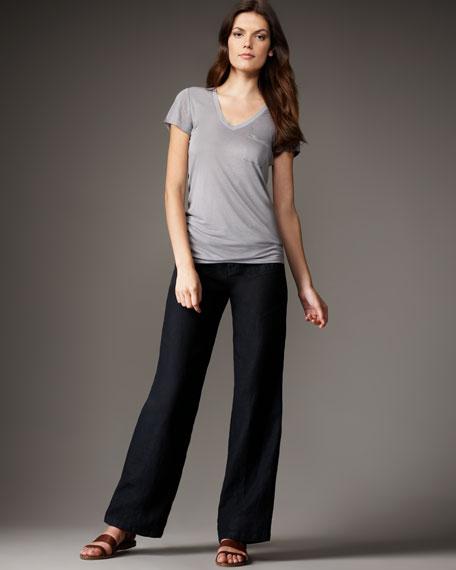 Linen Drawstring Pants, Black