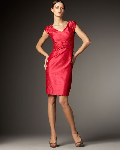 Cap-Sleeve Shantung Dress