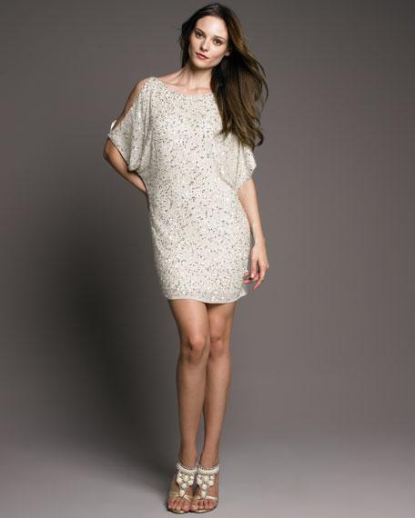 Sequined Cold Shoulder Shift Dress, Ivory