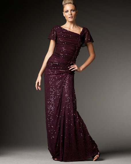 Asymmetric-Neck Sequined Gown