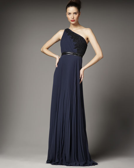 One-Shoulder Lace-Detail Gown
