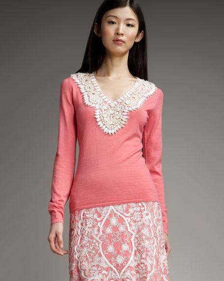 Lace-Yoke Sweater
