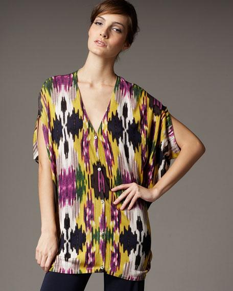 Printed Silk Cardigan