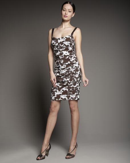 Strapless Tie-Dye Print Dress