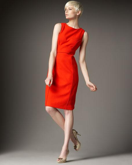 Boucle Seamed Sheath Dress